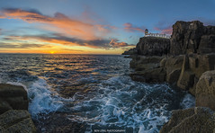 Neist Point at Sunset. (ben.leng) Tags: skye isleofskye scotland nikon sunset summer sea hdr panorama 36exposures lighthouse orange minch sky tranquil rocks waves cliffs barnacles froth foam nature scottish sigma manfrotto
