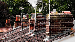 Over the rooftops... (+Pattycake+) Tags: trees rooftop architecture high outdoor bricks chimneys aerials uphigh slates