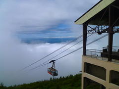 descending into the mist (citizensunshine) Tags: cloud mist mountain car japan fog clouds peak rope mount jp aomori hakkoda gondola ropes ropeway mists honshu hakkodamountains tamoyachi mounttamoyachi