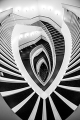A Girl Named Disillusionment (Thomas Hawk) Tags: america chicago cookcounty illinois josefpaulkleihues kleihues mca museum museumofcontemporaryartchicago usa unitedstates unitedstatesofamerica architecture artmuseum bw staircase stairs contemporary art fav10 fav25 fav50