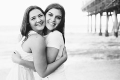 BFF's (mamarosa) Tags: california friends portrait blackandwhite beach losangeles santamonicapier santamonicabeach seniorpictures bestfriends seniorportrait