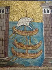 Ravenna, Mosaic with boats (Truus, Bob & Jan too!) Tags: italy italië mosaic basilica church basilicaofsantapollinarenuovo boatas classe