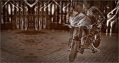 TRIUMPH TIGER (bert  bakker) Tags: motor motorfiets triumphtiger amsterdam night nacht zwartwit