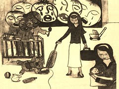 House work and motherhood  by Sir Fletcher Redoun 1996 (Fletcher45005) Tags: mother artwork 1996 art sir fletcher redoun housework people black white baby crying contemporaryart 1996artwork