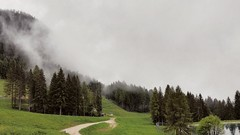 (Cristina Birri) Tags: carnia fornidisopra varmost friuli udine dolomiti montagne nebbia fog bosco alberi lago
