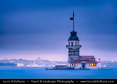 Turkey - Istanbul -  Kiz Kulesi - Maiden's Tower - Leander's Tower at Dusk ( Lucie Debelkova / www.luciedebelkova.com) Tags: istanbul alanya antalyaprovince turkey turkish trkiye republicofturkey trkiyecumhuriyeti turecko eurasian westernasia asia eastthrace middleeast ottoman turks asien mediterranean journey trip travel vacation holiday holidays tourism beach coast color colour anatalya taurus mountain site tourist outdoor scenic landscape scenery sightseeing attraction destination sea seaside seacoast seashore coastal shore coastline shoreline beautiful view vista panorama paysage outdoors landschaft atmosphere breathtaking beaut dusk dramaticlight fantastic licht light magiclight lumire dawn wonderful paesaggio sunset wwwluciedebelkovacom luciedebelkova
