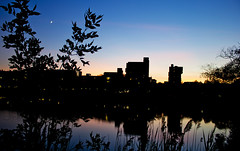 Lake La Salle (kellymacphotography) Tags: ub lake lasalle night sunset landscape water pretty photography canon colors nature plants moon sky reflections buffalo newyork