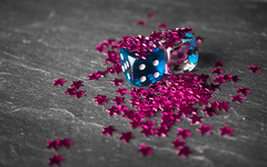 Macro Mondays - pink star galaxy over dice (stefanfricke) Tags: macro macromondays stars dice wrfel stern fav50