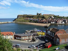 Whitby Harbour (Martellotower) Tags: whitby harbour tour bus band stand pirate weekend coast sunny abbey church headland sea