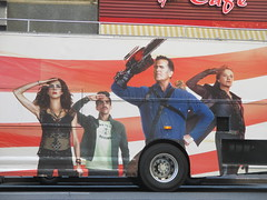 Evil Dead Double Decker Bus 5279 (Brechtbug) Tags: evil dead double decker bus billboard movie poster near 40th street 8th ave horror scary scifi film billboards new york city 2016 nyc science fiction red gold cities 09142016 starz explosions monsters book necronomicon lobby standee theatre sam raimi or bruce campbell st avenue chainsaw midtown manhattan ash vs