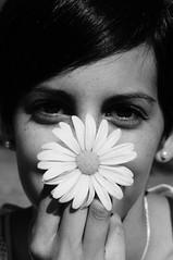 Happy Sunday  (gamelovermgx) Tags: portrait blackandwhite bw white black flower nature girl monochrome photography eyes freckles