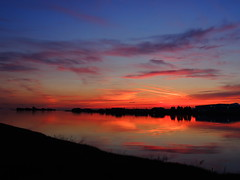 Cool Sunset (How.I.E) Tags: pink blue red summer sky reflection classic water glass colors yellow night clouds river fun mirror amazing cool twilight skies purple image awesome horizon great violet best prange smoothe