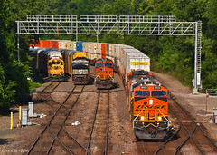 """Westbound Intermodal in Kansas City, KS (""""Righteous"""" Grant G.) Tags: city railroad west train railway trains double stack container kansas locomotive bnsf westbound intermodal"""
