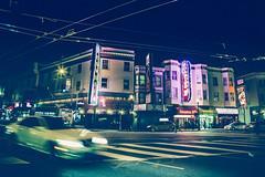 Red Light Spells Danger (darren.cowley) Tags: red light spells danger district sanfrancisco night motion blur scene crossing traffic neon