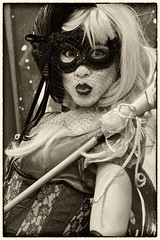 DSC_1574-Edit-1 (craigchaddock) Tags: harleyquinn female sdcc2016 sandiegocomiccon2016 comiccon2016 sandiegocomiccon comiccon cosplay cosplayer crossplay respectcosplayers streetportraiture streetphotography consent monochrome sepia