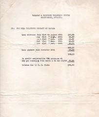 Kaladar & Northern Telephone System Payment to Bell (CDHS) Tags: ellerythompson longdistance belltelephone bill invoice statement charges 1930 kaladar northern telephone system northbook