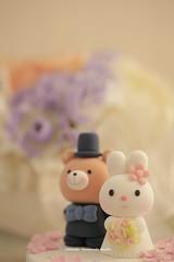 rabbit and bear wedding cake topper (charles fukuyama) Tags: wedding cute bunny clay brideandgroom sculpted bridalbouquet weddingcaketopper customcaketopper bridalhair handmadecaketopper