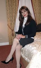 Black Pinstripe Skirt (xgirltv1000) Tags: tgirl transgender trans transwomen transvestite transformation crossdress dragqueen makeover mtf transformista
