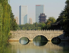 Hefei skyline over Baogong Chinese garden and bridge (Germn Vogel) Tags: asia china eastasia anhui hefei baohe lordbao park chinese garden chinesegarden water waterreflection pond skyline skyscraper pagoda tower bridge arch willow relaxing travel tourism urban urbanlandscape outdoor horizontal