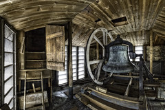 Inside the Steeple (Frank C. Grace (Trig Photography)) Tags: newbedford massachusetts unitedstates firstunitarian church whalingcity history historic bell steeple tower inside fisheye defished hdr on1pics frankcgrace trigphotography wooden steeplechasers williamjrotch claramorganrotch