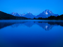 Predawn at Oxbow Bend (Brian Menges) Tags: travel blue mountain reflection silhouette river landscape us nationalpark unitedstates wyoming moran predawn grandteton oxbowbend