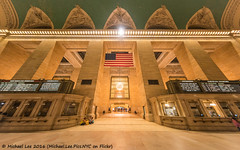 Grand Central Fisheye (DSC04913) (Michael.Lee.Pics.NYC) Tags: newyork grandcentralterminal architecture flag usa symmetry fisheye sony a7rm2 rokinon12mm28fisheye