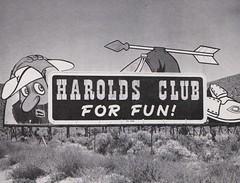"Harold's Club for Fun! - ""Bulletin of the Month"" - Signs of the Times magazine - November 1958 (hmdavid) Tags: signsofthetimes magazine signage sign vintage midcentury art design roadside haroldsclub reno nevada bulletin billboard display 1950s 1958 ballsigns sneaky trapper arrow advertising"
