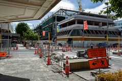 Colombo St (Jocey K) Tags: newzealand christchurch archtiecture buildings street road roadcone roadworks art trees crane cbd clouds sky rebuild signs