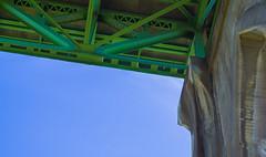 Under the Bridge Part Two (Joseph Lesieutre) Tags: bridge sky green concrete blue structure