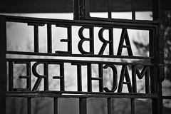 Macht Arbeit frei? (Walls Fall Down) Tags: world door 2 camp bw berlin germany deutschland concentration konzentrationslager gate war eingang entrance end second sw tor 70 tr kz ende sachsenhausen zweiter jahre gedenken weltkrieg