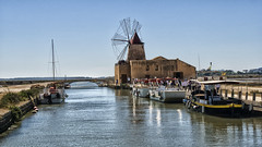 The West Coast Salt Pans (Jay-Aitch) Tags: sea italy water windmill boat salt sicily trapani pans