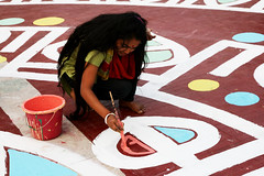 Drik000241 (Drik Images) Tags: woman color colour art students horizontal female youth painting one 1 design daylight bucket asia paint day pavement fineart country young culture institute countries event international single dhaka bandana occasion paintbrush bangladesh cultural artworks paved developing finearts southasia thirdworld dhakauniversity majorityworld alpona shaheedminar 21stfebruary motherlanguageday shaheeddibosh martyr'smonument