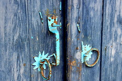 blue door, detail (overthemoon) Tags: door wood blue metal turkey shopping village lock path turquoise details trkiye rusty turquie trkei rings stalls assos anakkale presstrip behramkale