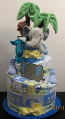 Topsy Turvy 3 Tier Jungle Safari Theme Diaper Cake (Sharikay's Kreations (Formerly Shari's Diaper Cake) Tags: diapercake topsyturvy diaper babygift babyshower blankets washagami