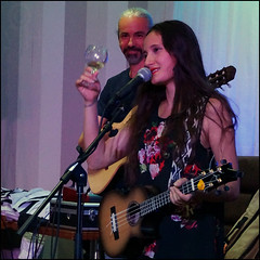 Taimane toasting her audience (steeedm) Tags: taimane taimanegardner osqa liverpool ukulele hawaii wine