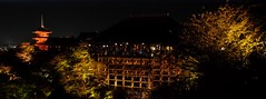 Kiyomizu-dera XI (Douguerreotype) Tags: japan architecture night buildings dark temple lights pagoda kyoto shrine buddhist