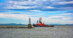 Tug rounding a nautical beacon (Images by Christie  Happy Clicks for 2016!) Tags: sky canada clouds nikon bc richmond fishermanswharf tug beacon fraserriver steveston breakwater stevestonheritagefishingvillage d5200