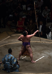 Sumo tournament winner rin the ryogoku kokugikan sumo arena, Kanto region, Tokyo, Japan (Eric Lafforgue) Tags: people male men sport japan vertical asian japanese tokyo big fight referee asia fighter martial wrestling fat traditional champion culture competition clash ring indoors tournament winner ritual leisure sumo inside strength athlete wrestlers 2people twopeople adultsonly cultural overweight ryogoku competitors kantoregion colourpicture 2029years japan161120