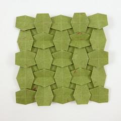 Woven Rhombi (Michał Kosmulski) Tags: origami tessellation woven weave interlace rhombi rhombus rhombuses michałkosmulski handmadepaper green