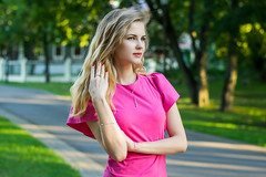 DSC_0135_3 (Patho1ogy) Tags: minsk belarus nikon d3100 girl summer snile dress pink happy beauty beautiful green eyes hair city hot friend lovely