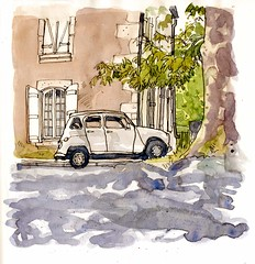 Renault Under a Plane Tree, La Rochefoucauld (larosecarmine) Tags: chateau lage baston art holidays france urban sketcher caroline johnson reportage documentary drawing painting watercolour