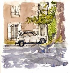 Renault 4 Under a Plane Tree, La Rochefoucauld (larosecarmine) Tags: chateau lage baston art holidays france urban sketcher caroline johnson reportage documentary drawing painting watercolour