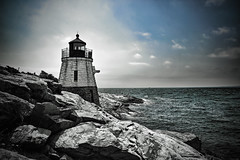 (Silverio Photography) Tags: newengland newport rhode island beach coast lighthouse cliff rock ocean blackandwhite color topaz adjust photoshop elements canon 60d sigma 1770 hdr nature