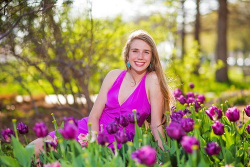 Senior portrait in the tulips