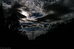 sign of the cross 8-16-16 (photo synth) Tags: mournful lonelyroad wolf fullmoon gothic darkclouds countryroad forbidding mournfulcry signofthecross cross wolves moon cloudedmoon clouded