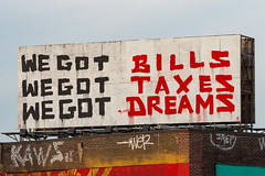 Bills, Taxes and Dreams (sullivan1985) Tags: bill taxes dreams billboard graffiti tag indecline jerseycity hudsoncounty wegot wegotbills wegottaxes wegotdreams kaws wer jrep paint urban city jersey nj newjersey gardenstate jerz bricks brick roof