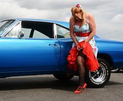 Ange L'Que_8781 (Fast an' Bulbous) Tags: high heels stilettos stockings dress girl woman car vehicle muscle automobile oldtimer classic american santa pod chick babe mature milf nikon d7100 gimp