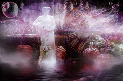 Lost in the Mists of Time (abstractartangel77) Tags: statue mist water time clock