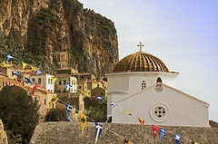 Town square at Monemvasia, Greece (Randy Durrum) Tags: church canon eos m greece monemvasia pelopennese durrum
