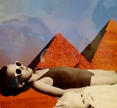 My Summer Vacation in Egypt (joannmuench) Tags: girls sky people woman baby girl sunglasses collage female vintage children outdoors women doll babies child antique tan egypt surreal retro suit pyramids females bathing cutpaste desertloca joannmuench